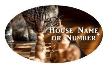 Chess with Cat UV Printed Metal House Plaque - Large