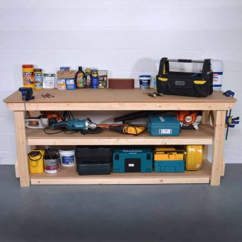 Work Bench 4Ft + Shelf- MDF Light Green