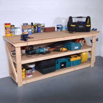 Work Bench 8Ft + Shelf- MDF Light Green