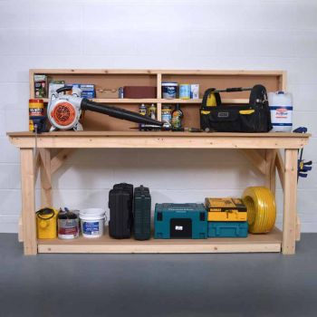 Work Bench with Back Panel 8Ft - MDF Light Green